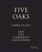 Five Oaks Sgs Cabernet Sauvignon 2005, Yarra Valley, Victoria Bottle