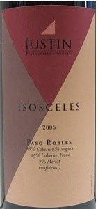 Justin Vineyards Isosceles 2005, Paso Robles, Unfiltered Bottle