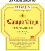 Campo Viejo Crianza 2003, Rioja, Spain Bottle