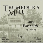 Trumpour's Mill Pinot Gris 2007, Prince Edward County Bottle
