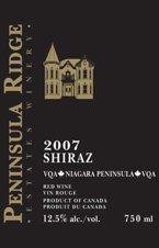 Peninsula Ridge Shiraz 2007, Niagara Peninsula Bottle