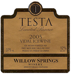 Willow Springs Testa Limited Reserve Vidal Icewine 2004, VQA Bottle