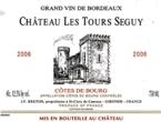 Chateau Les Tours Seguy, Ac Cotes De Bourg, 2006, J.F. Breton 2006 Bottle