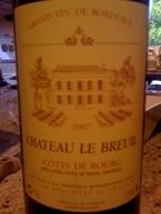 Château Le Breuil, Ac Côtes De Bourg, Cuvée Classic, 2007, Henri Doyen Bottle