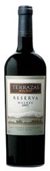 Terrazas De Los Andes Malbec Reserva 2006, Mendoza Bottle