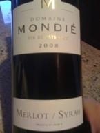 """Domaine Mondie Merlot Syrah 2008 Vin De Pays D""""Oc Bottle"""