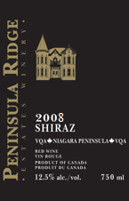 Peninsula Ridge Shiraz 2008, Niagara Peninsula Bottle