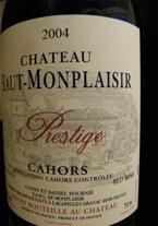 Chateau Haut Monplaisir Prestige Cahors 2004 Bottle
