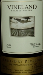 Vineland Estates Riesling Semi Dry VQA 2003 Bottle
