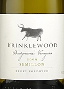 Krinklewood Biodynamic Vineyard Semillon 2009, Hunter Valley, New South Wales Bottle