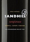 Sandhill Small Lots Program Sangiovese 2006, VQA Okanagan Valley, Sandhill Estate Vineyard Bottle