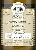 Domaine Barmès Buecher Gewurztraminer Rosenberg 2007, Ac Alsace Bottle