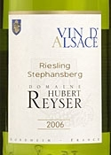 Domaine Hubert Reyser Stephansberg Riesling 2006, Ac Alsace Bottle