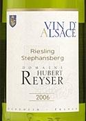 Domaine Hubert Reyser Stephansberg Riesling 2006, Ac Alsace Bottle