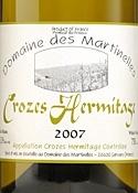 Domaine Des Martinelles Crozes Hermitage Blanc 2007, Ac Bottle