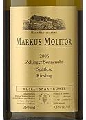 Markus Molitor Riesling Spätlese 2006, Qmp, Zeltinger Sonnenuhr, Estate Bottled Bottle