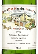 P.S. Bäumler Becker Erben Riesling Auslese 1995, Qmp, Wehlener Sonnenuhr Bottle