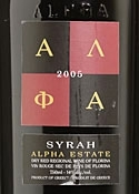 Alpha Estate Syrah 2005, Regional Wine Of Florina Bottle