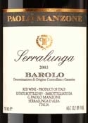 Paolo Manzone Serralunga Barolo 2003, Docg Bottle