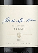 Clos De Ste. Anne The Crucible Syrah 2007, Gisborne, North Island, Biodynamically Grown Grapes, Unfiltered Bottle