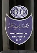 Highfield Pinot Noir 2007, Marlborough, South Island Bottle