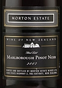 Morton Estate Black Label Pinot Noir 2007, Marlborough, South Island Bottle