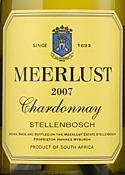 Meerlust Chardonnay 2007, Wo Stellenbosch Bottle