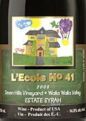 L'ecole No. 41 Seven Hills Vineyard Estate Syrah 2006, Walla Walla Valley Bottle
