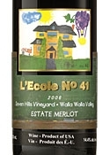 L'ecole No. 41 Seven Hills Vineyard Estate Merlot 2006, Walla Walla Valley Bottle