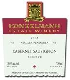 Konzelmann Cabernet Sauvignon Reserve 2008, VQA Bottle