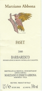 Marziano Abbona Barbaresco Vigna Faset 2000 Bottle