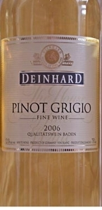 Deinhard Pinot Grigio 2008, Baden, Germany Bottle