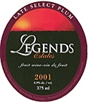 Legends Select Plum 2001 2001, Four Mile Creek Bottle