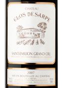 Chateau Clos De Sarpe Grand Cru 2007, Saint Emilion Bottle