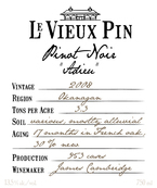 Le Vieux Pin Adieu Pinot Noir 2008, Okanagan Valley Bottle
