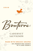 Bonterra Cabernet Sauvignon 2008, Mendocino County, Made From Organic Grapes Bottle