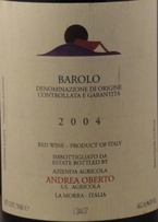 Oberto Barolo 2001 Bottle