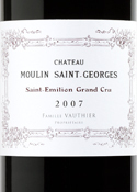 Chateau Moulin Saint Georges 2007, Saint Emilion Grand Cri, Bordeaux Bottle
