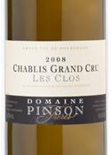 Domaine Pinson Frères Les Clos Chablis Grand Cru 2008, Ac Bottle
