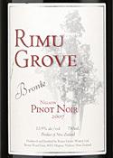 Rimu Grove Bronte Pinot Noir 2007, Nelson Bottle