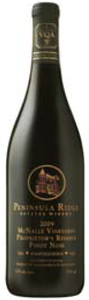 Peninsula Ridge Mcnally Vineyards Proprietor's Reserve Pinot Noir 2009, VQA Beamsville Bench, Niagara Peninsula Bottle
