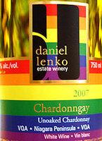 Daniel Lenko Unoaked Chardonngay 2009, VQA Niagara Peninsula Bottle