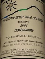 Mountain Road Wine Company Reserve Chardonnay 2006, Niagara Peninsula VQA Bottle