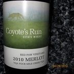 Coyote's Run Red Paw Merlot 2010 2010 Bottle