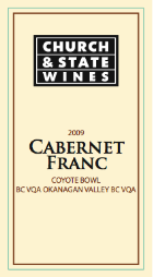 Church & State Cabernet Franc Coyote 2009, BC VQA Okanagan Valley Bottle
