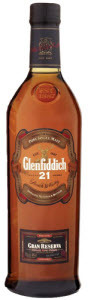 Glenfiddich Gran Reserva 21 Year Old Single Malt, Distilled, Matured & Bottled At Glenfiddich, Rum Cask Finish Bottle