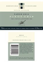 Tawse Pinot Gris Redstone Vineyard 2011, Lincoln Lakeshore, Niagara Peninsula Bottle