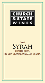 Church & State Coyote Bowl Series Syrah 2009, Okanagan Valley Bottle