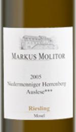 Markus Molitor Niedermenniger Herrenberg Gold Capsule Riesling Auslese 2005 Bottle