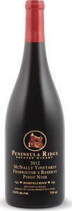 Peninsula Ridge Mcnally Vineyards Proprietor's Reserve Pinot Noir 2012, VQA Beamsville Bench Bottle